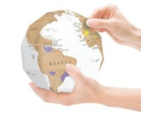Creativo DIY Scratch Off Mapa Viajes Scratch World Map Globe Home decor Regalo 3D Globe World Map Travel Gift 100 Unids