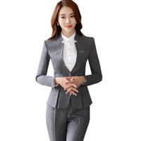 Wholesale ladies business trousers - 2018 Autumn Pants Suit For Women Elegant V Neck Blazer+Long Trousers 2 Pieces OL Office Lady Business Pant Blazer Suit ow0400