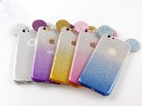 Wholesale Color Changing Mouse - Popular 3D Mouse Ears TPU Soft Glitter Cover Case Gradual Change Color With Hang rope phone cases for iPhone x 8 5S 6 6S 6Plus 7 7plus