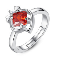 Wholesale Ring Spots - The Red Square CZ Ring Spot four claw ring opening heart