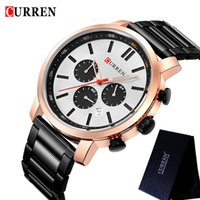 вахта mens нержавеющей стали curren оптовых-CURREN Mens Watches Waterproof Top  Chronograph Fashion Male Clock Stainless Steel Sport  Wristwatch 8315