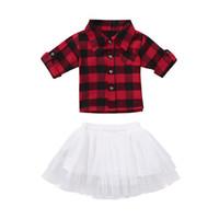 bebek kızları kırmızı tutu toptan satış-Noel Bebek kız kıyafetler bebek kırmızı siyah Ekose üst + Tutu dantel etekler 2 adet / takım moda Sonbahar Noel çocuklar kafes Giyim C5377 Setleri