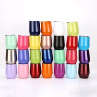 Wholesale tumblers drink - 9oz Vacuum Thermos Egg Cups with Lids Drink Bottle 304 Stainless Steel Wine Tumbler Couple Coffee Mugs Champagne Glasses Teapot