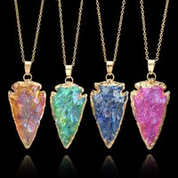 Wholesale Bijoux Wholesale - 2018 hot sale colorful Natural Stone Necklaces & Pendants Colorful Water drops Stone Necklaces for Women Jewellery Bijoux 162640