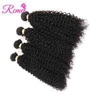 32 inç sapık kıvırcık saç toptan satış-Rcmei Perulu İnsan Ürünü Sıcak Satış Kinky Kıvırcık Saç Uzantıları 8-28 Inç 4 Paketler Doğal Renk Ücretsiz Kargo