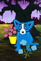Wholesale canvas prints blue wall painting resale online - Blue Dog decorative High Quality Hand Painted HD Print Home Wall Decor Animal Art Oil painting on canvas Multi Sizes Frame Options Bd01