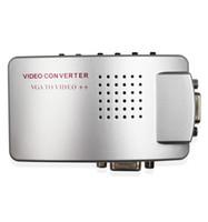 av composite vga convertisseur achat en gros de-vente chaude PC Converter Box VGA à TV AV RCA Adaptateur de signal Convertisseur Vidéo Switch Box Composite Prend en charge NTSC PAL pour ordinateur