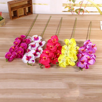 Wholesale Wholesale Purple Orchid - Colorful 8 Heads Silk Flower Hand Made Moth Orchid Decorative Flowers For Home Christmas Party Decoration Bouquet Purple 2 6lx B