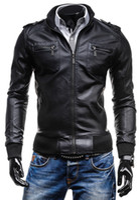 Wholesale hem jacket online - Individual City Multiple Pockets Standing Collar Leather Jacket Fashion Men Vertical Hem Design Pure Color Fur Coat