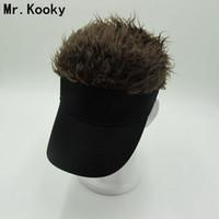 peruk saç toptan satış-Mr.Kooky Sıcak Yeni Moda Yenilik Beyzbol Şapkası Sahte Flair Saç Güneşlik Şapkalar erkek kadın Peruk Peruk Komik Saç Dökülmesi ...