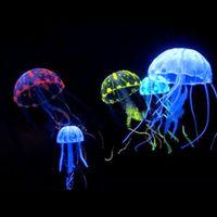 ornamento do tanque das medusa venda por atacado-Glowing Jellyfish Ornament Decoração para Aquarium Fish Tank imitação flutuante medusa 10 pcs mini para casa