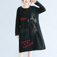 Wholesale plus size tee shirt dress - 2018 Summer Korean T-shirt Dress Women Plus Size Vintage Loose O-neck Cartoon Letter Embroidery Patch Cotton Tee Shirt Dress