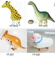 Wholesale toy kangaroos - Walking Pet 5 Animals Helium Aluminum Foil Balloon Automatic Sealing Kids Baloon Toys Gift Unicorn, kangaroo Wedding Birthday Party Supplies