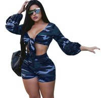 Wholesale camouflage pants shorts girls - women Camouflage Playsuits Full Sleeve Short Styles 2 Piece Sexy Women Top +Mini Short Pant Night Club 2 pieces Sets Jumpsuit KKA4826