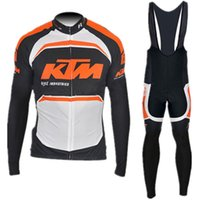 Wholesale KTM team Cycling long Sleeves jersey bib pants sets Bicycle Cycling Clothing Bike Wear Outdoor Sportswear Gel Pad
