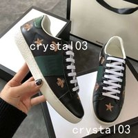 Wholesale outdoor trimmers - Luxury New Men Women Low Top Ace Snakeskin-trimmed Leather Sneakers Fashion Designer Flower 3D Embroidery Casual Shoes for Party Outdoor
