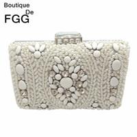 Boutique De FGG Hand Made Women White Beaded Evening Clutch Bag Hard Case  Metal Wedding Party Cocktail Beading Handbag and Purse Y18102404 62a1602161e3