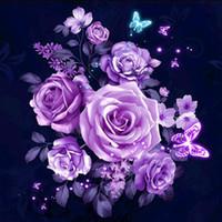 pareja pinturas de arte moderno al por mayor-Nueva flor de bricolaje pintura diamante 5d taladro completo diy bordado cruz artesanía kit decoración envío gratis