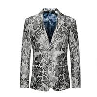 ropa de talla más al por mayor-Hombres Blazer 2018 Slim Fit Chaqueta Floral para hombre Chaqueta de Traje Casual 5XL 6XL Tallas grandes Prom desgaste de la etapa Marca Ropa CD30
