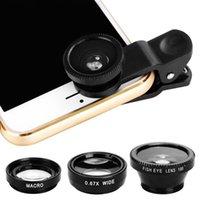 apple gps tracker device оптовых-1 шт. / компл. 3 в 1 мобильный телефон клип линзы рыбий глаз широкий угол макро камеры подарок