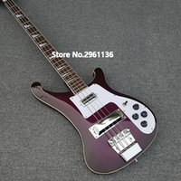 Wholesale alder fingerboard for sale - Group buy Custom RIC Strings Purple Violet Electric Bass Guitar Chorme Hardware Triangle MOP Fingerboard Inlay Awesome China Guitars