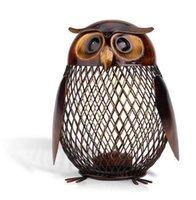schwarze sparschwein groihandel-Tooarts Sparschwein Owl Shaped Figur Sparschwein Spardose Metall Münzbox Spardose Home Dekoration Handwerk Geschenk Für Kinder