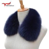 Wholesale black fur stole wrap resale online - Real fox Fur Collar Scarf Womens Shawl Wraps Shrug Neck Warmer Black Stole Hot sale Ring Scarf Womens L Y18102010