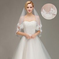 Wholesale fingertip veils online - 2019 New In Stock Cheap Two Layers Lace Wedding Veil With Comb Short Bridal Veil White Ivory Voile Marriage Wedding Accessories CPA1445