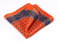 Wholesale handkerchief blue for sale - Group buy Hn36n Orange Blue Hisdern Handkerchief Natural Silk Satin Mens Hanky Fashion Classic Wedding Party Pocket Square