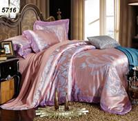 gri yatak takımları toptan satış-Pembe gri modal ipek yatak çarşafları jakarlı çiçekler lüks yatak seti dantel yorgan kapağı yastık kılıfı çarşaf 4 adet set 5716