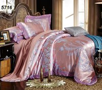 Wholesale blue comforter pink flowers for sale - Group buy Pink gray modal silk bed linens jacquard flowers luxury bedding set lace comforter cover pillow cases bed sheet set