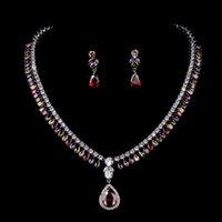 conjuntos de joyas de novia zirconia al por mayor-Elegante incontable teardrop cubic zirconia incrustado collar pendiente boda nupcial conjunto de joyas