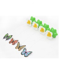 Wholesale pink butterfly toy resale online - Electric Power Dances Butterfly Rotating Around Flowers Amuse Dog Cat Toys Kitty Interaction Beneficial Wisdom Plastic mc bb