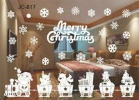 ingrosso decalcomanie rimovibili-Hot Home Festive Christmas Snowman Rimovibile Home Vinyl Window Wall Stickers Decal Decor Natale trasparente finestra Wallpaper Shop