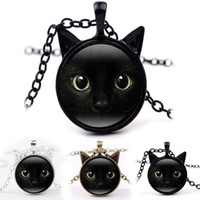 Wholesale Cat Face Necklace - Car Face Frame Black Cat Glass Cabochon Necklace Time Gemstone Jewelry Fashion Gift for Kids Gifts Drop shipping
