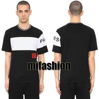 camisas casuais de luxo para homens venda por atacado-18ss de Luxo Europa Paris Bordado Contraste patchwork Tshirt Moda Mens Designer de T Camisa Casual Homens Roupas de Algodão Tee