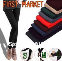Wholesale Retail Marketing - Wholesale- Free Shipping First Market Women Candy Colors Ankle length Velvet Leggings Thicken Pants for Winter Wholesale and Retail