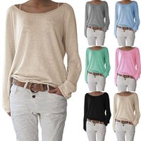 959640bda2fca Wholesale metallic tops for women for sale - Hot sell solid color knit T shirt  women