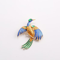 ingrosso sciarpe rami-Colorful smalto uccello rami spille bambini Lady Corsage Clips For Suit Scarf Dress Decoration Gold-color Jewelry Pins