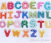 imán de nevera envío gratis al por mayor-Palabras imán de frigorífico infantiles para niños de madera magnéticos etiqueta de dibujos animados alfabeto Educación y juguetes de aprendizaje decoraciones caseras de envío