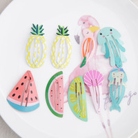 helado en forma de fruta al por mayor-Niñas hechos a mano de dibujos animados pinza de pelo Hebilla Flamingo forma de helado Eco Friendly Clips Fruit Barrettes Girl Accessories 0 5yf jj