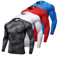 spor forması toptan satış-2018 Yeni Uzun Kollu Spor Gömlek Erkekler Çabuk Kuru erkek Koşu T-Shirt Yılan Spor Giyim Spor Üst Mens Rashgard Futbol Forması