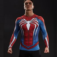 Wholesale t shirt fitness clothing compression resale online - Raglan Sleeve Spiderman d Printed T Shirts Men Compression Shirts Long Sleeve Crossfit Tops For Male Fitness Bodybuilding Clothing