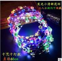 ingrosso vendita ghirlanda di ghirlanda-Vendita calda lampeggiante LED stringhe Glow Flower Crown Fasce Light Party Rave Floral Hair Garland Corona luminosa Wedding Flower Girl Headpiece