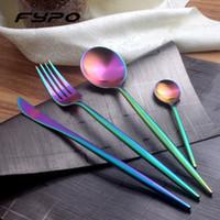 ingrosso set da pranzo nero-Set di posate di marca Fypo Set di posate di stoviglie in acciaio inox nero arcobaleno nero con forchetta e coltello per la cucina domestica
