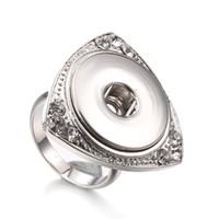 18 mm ayarlanabilir halka toptan satış-Noosa Snap Düğmesi Takı Rhinestone Kristal 18mm Snap Düğmesi Yüzükler 18mm Yapış DIY Ayarlanabilir Düğme Yüzük Kadınlar için