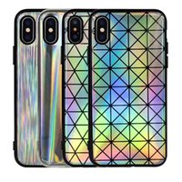 Wholesale Rainbow Iphone Covers - Laser Rainbow Shiny Case Sparking Bling Felxible Soft TPU Fashion Cases Cover For iPhone X 8 7 6 6S Plus