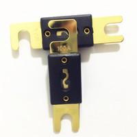sac plaque dorée achat en gros de-5 pcs / sac 100A 150A 200A 250A 300A Golden Plated Car Audio Blade ANL Fusible