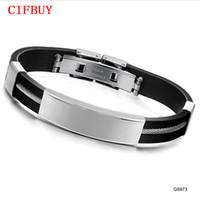 ingrosso braccialetti di roccia-CIFBUYGifts Designer Black Genuine Silicone Wristband Uomo gioielli in acciaio inossidabile 316L Bracciale Rock Punk Style 973