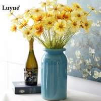 Wholesale plastic cherry blossoms - Luyue Artificial 46cm Cherry Blossoms Flowers Fake Silk Primrose Flowers For Wedding Garden Simulation Home Decoration